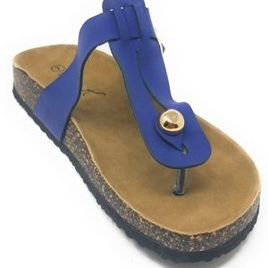 Women Cushioned Cork Thong Sandals in Navy *HK7102